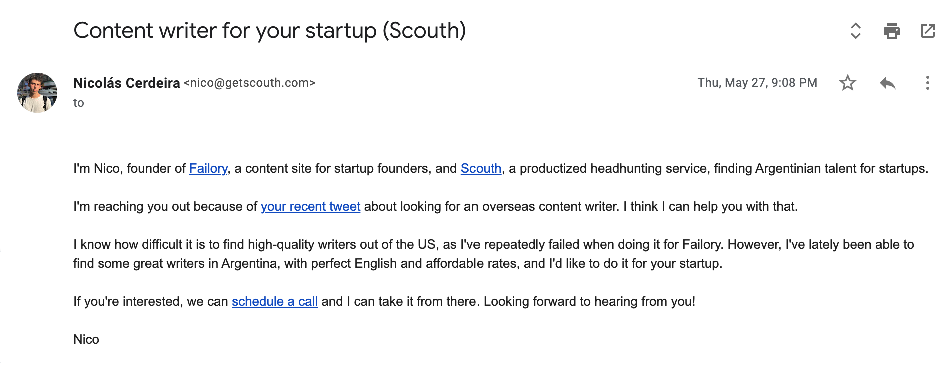 Scouth Cold Email